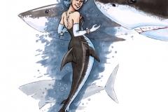 MerMay2017 Day 07 Great White Shark Mermaid