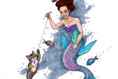 MerMay2017 Day 15 Parrotfish Mermaid and her Catfish