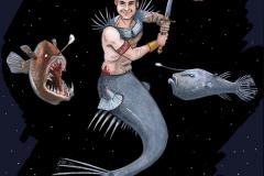MerMay2017 Day 18 Anglerfish Merman Warrior