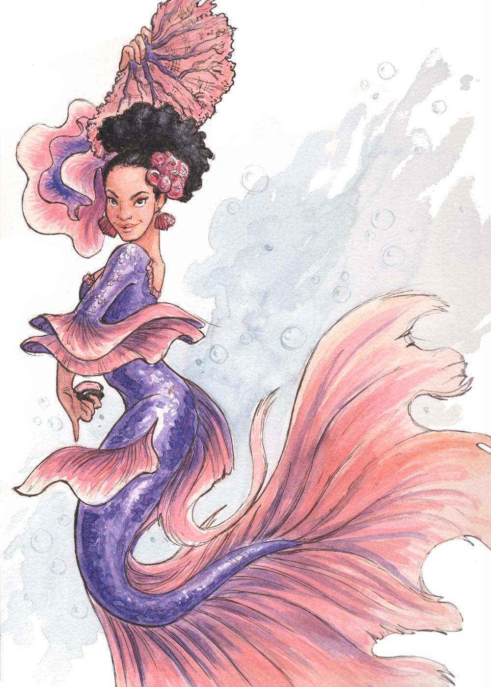 MerMay2019 -- Day 3: Beta-Fish Flamenco Mermaid
