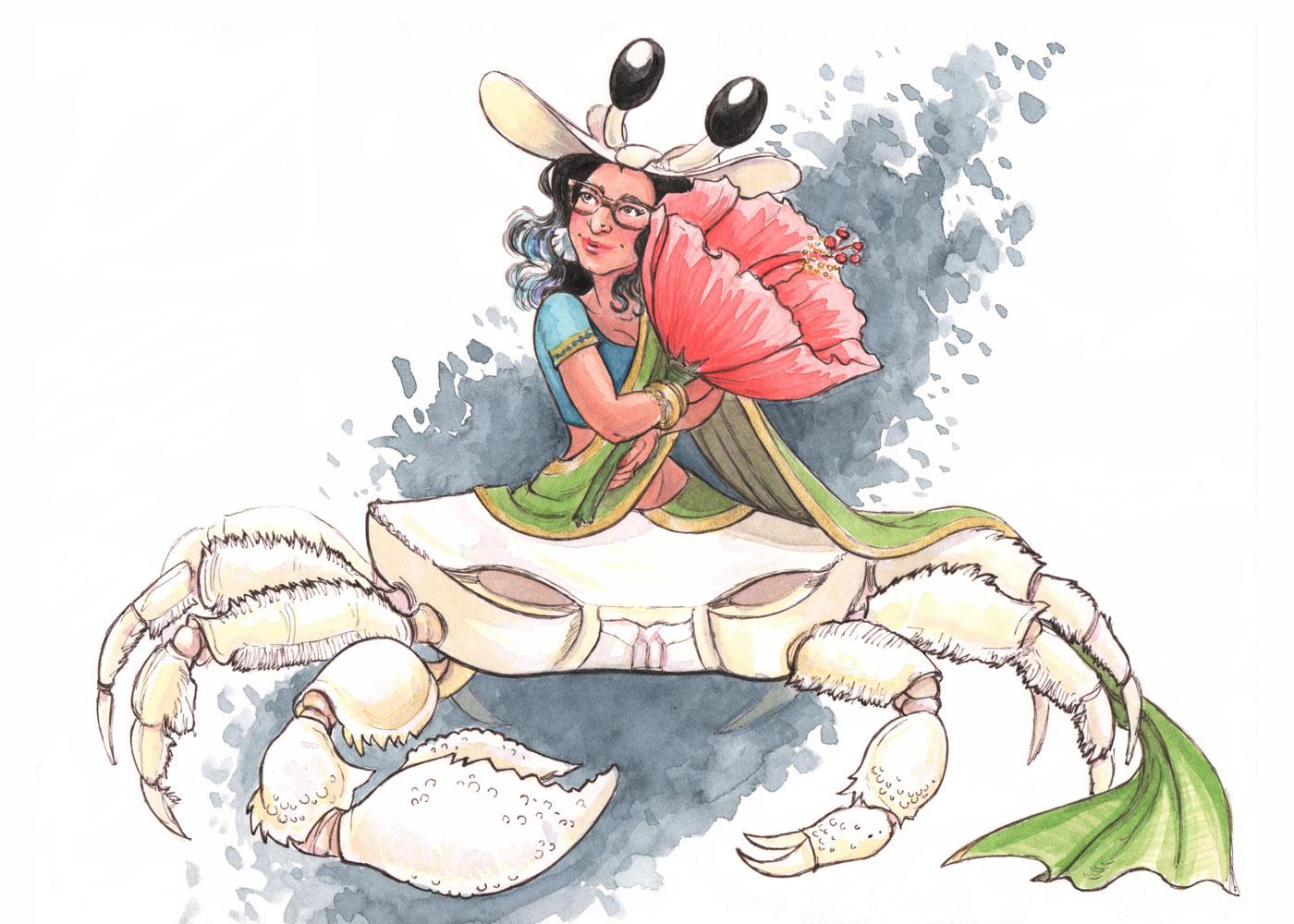 MerMay2019 -- Day 7: White Sand Crab Mermaid Waring Pavadai Davani Sari In Love