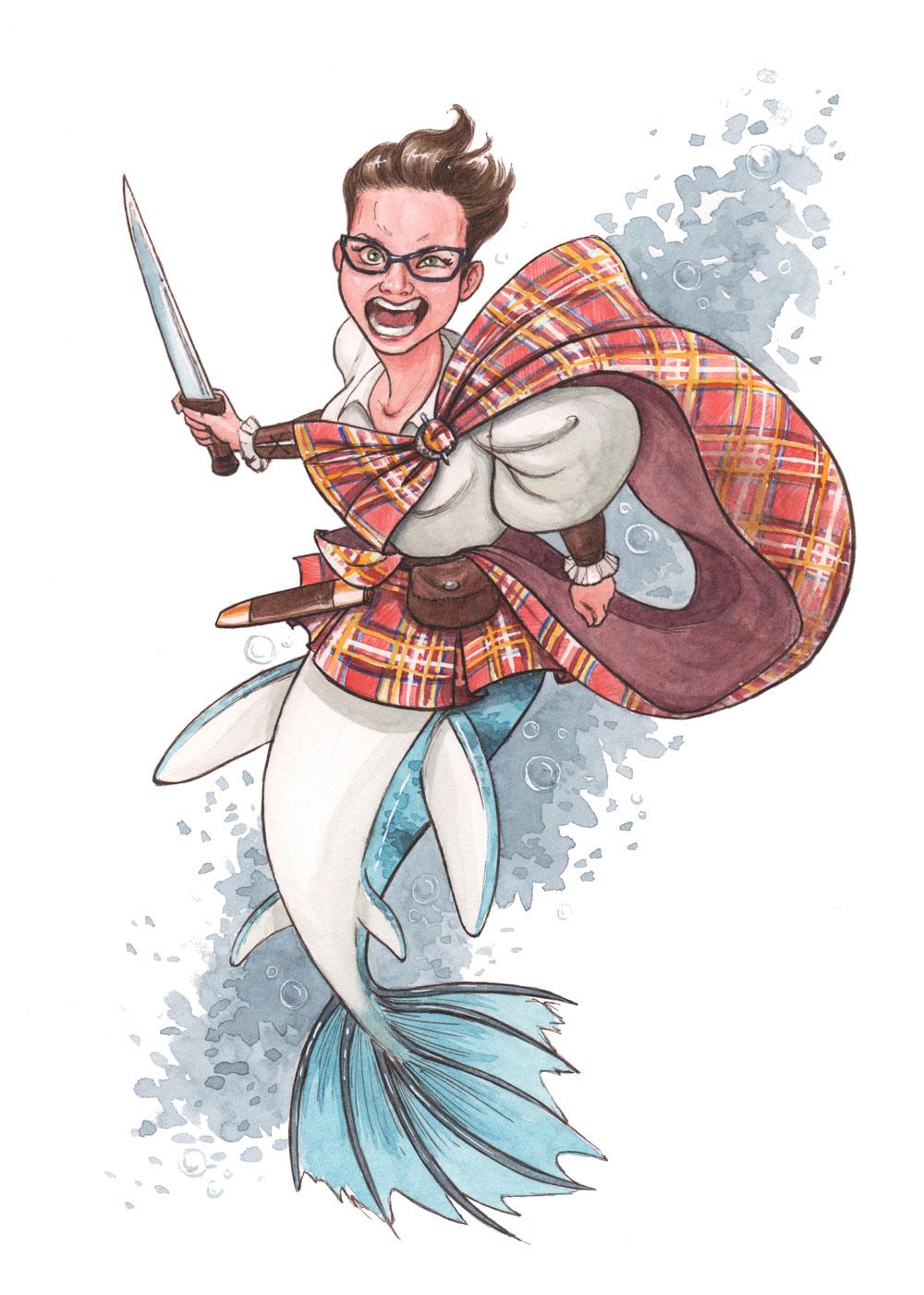 MerMay2019 --Day 13: An Angry Scottish Highlander Loch Ness Monster Mermaid