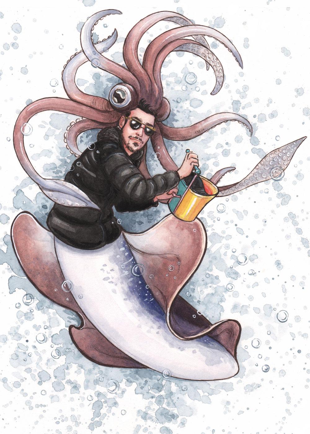 MerMay2019 -- Day 17: A Determined, Modern, Squid Merman