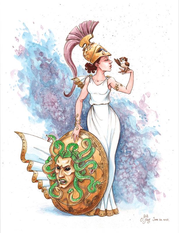 Mili Fay as the Goddess Athena
