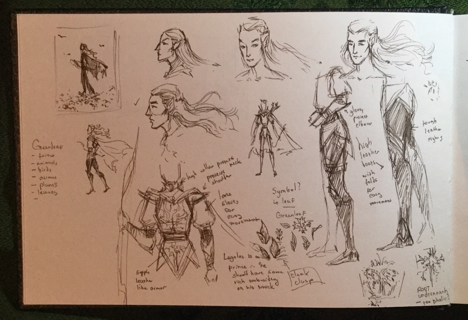 Legolas design rough sketches.