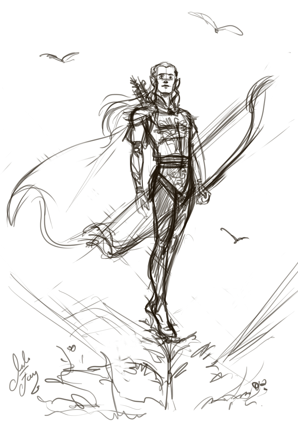 Legolas Greenleaf rough sketch 01