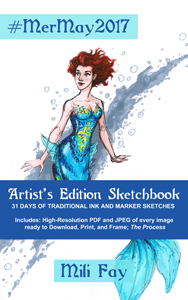 Cover for the Kindle Edition of MerMay2017 Sketchbook featuring Mili Fay as an aqua mermaid.