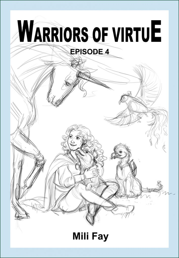 Warriors of Virtue Episode 4 rough cover design showcaseing Viliya, the Wind Warrior.