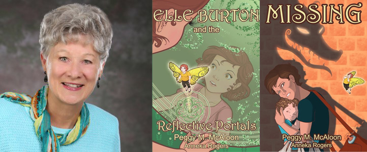 Peggy M. McAloon and the first two books in her Elle Burton Series.