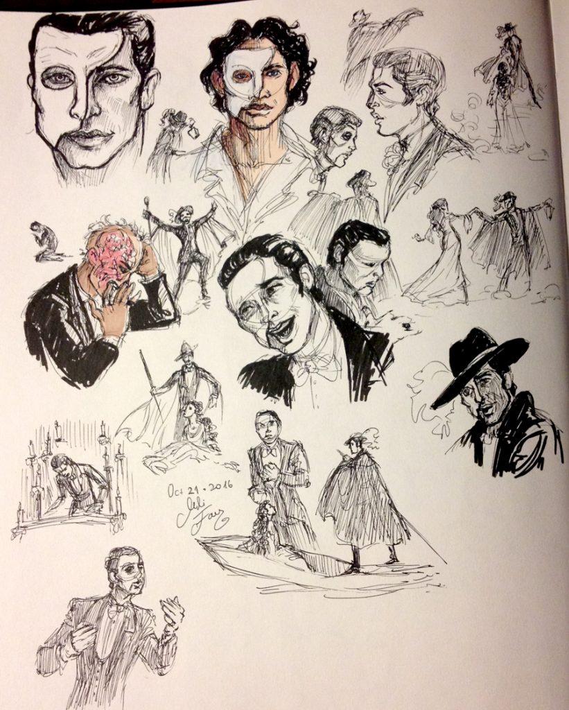 Phantom, Erik, ink sketches for Inktober 2016 Day 21.