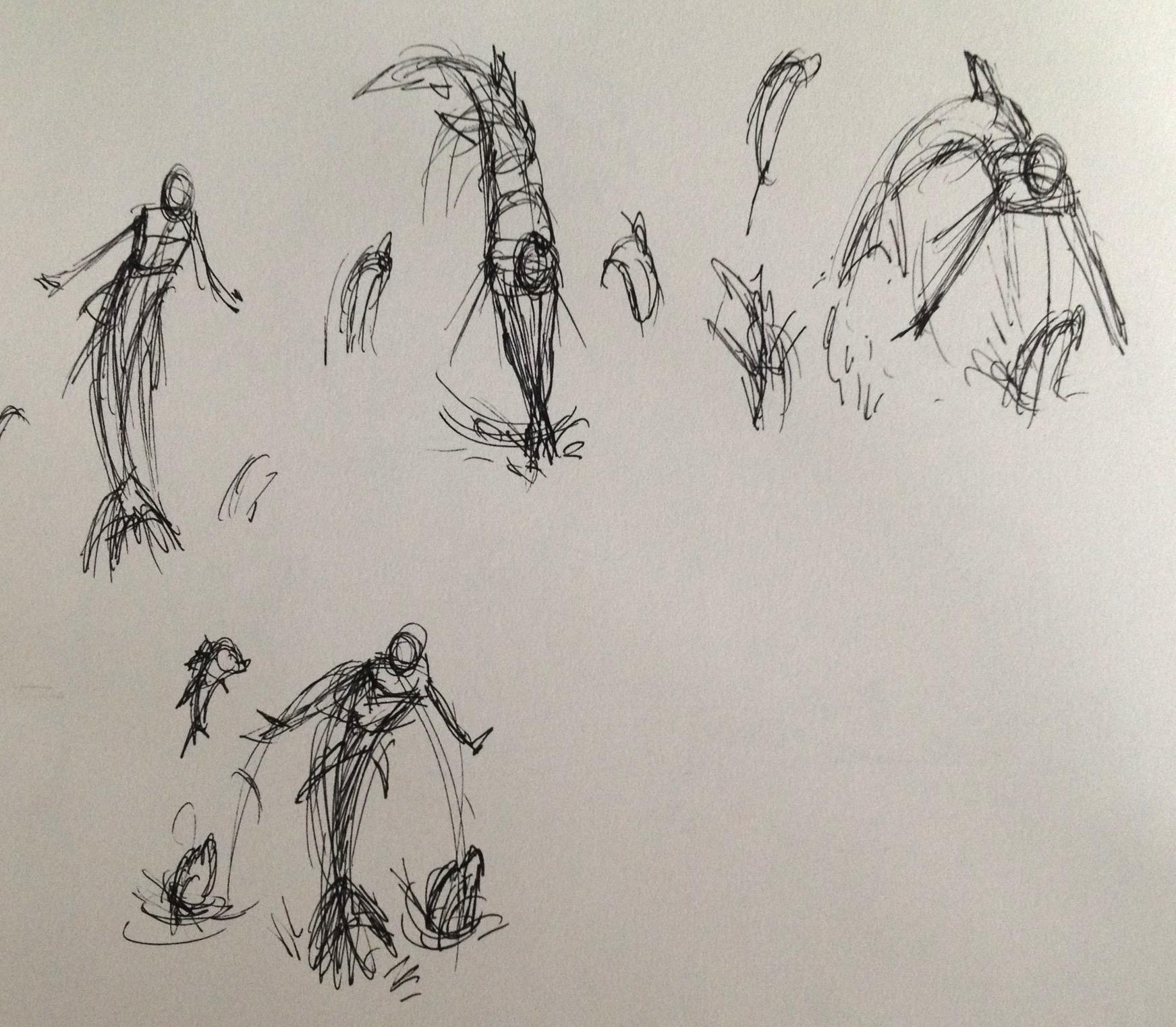 MerMay Day 30 Thumbnail Sketches.