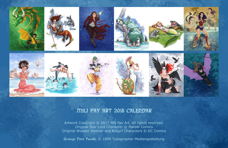 Mili Fay Art 2018 Calendar Back Cover