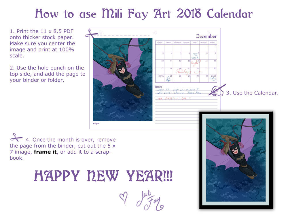 How to use the 2018 Mili Fay Art 11 x 8.5 Calendar