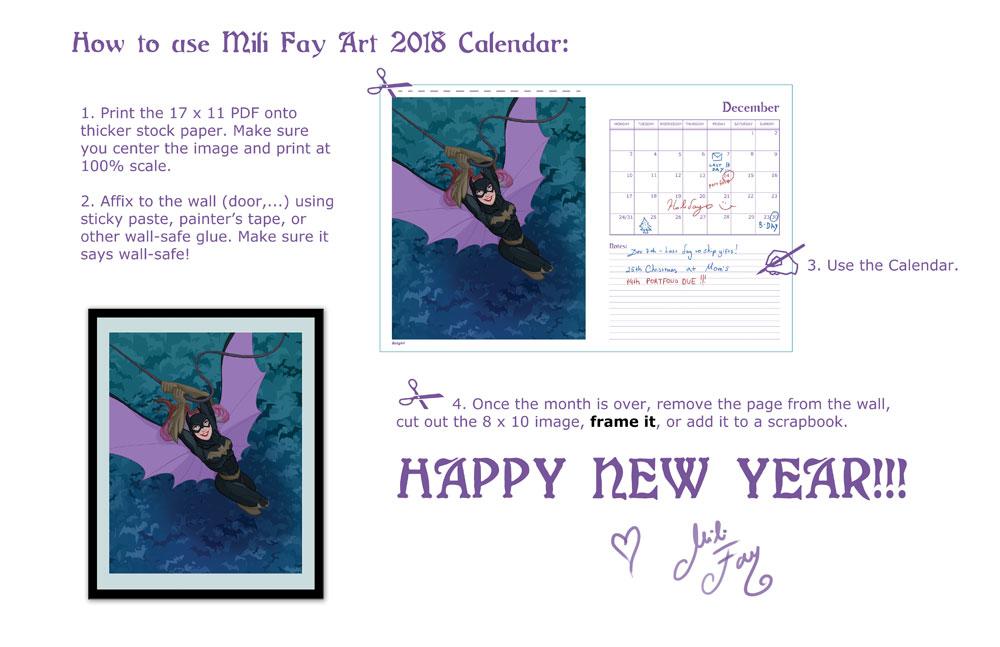 2018 Mili Fay Art Calendar Read Me