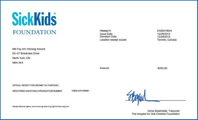 SickKids2013 Tax Receipt