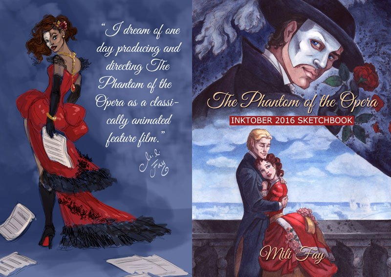The Phantom of the Opera Inktober 2016 Sketchbook softcover Cover Art