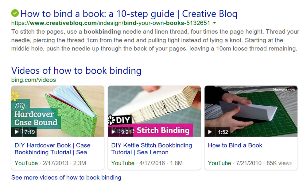 How to Book Binding Google Search results.