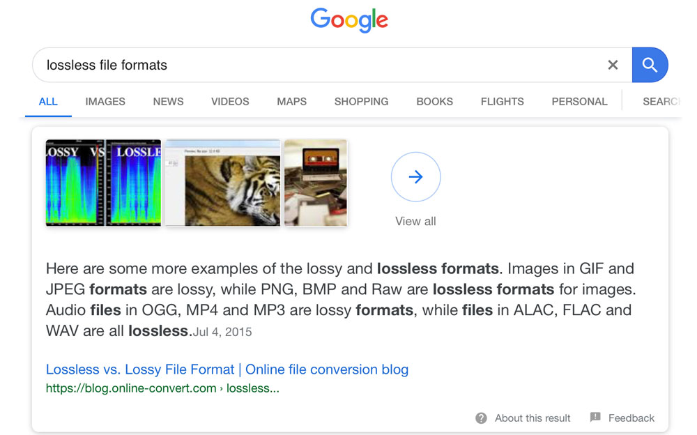 Lossless file formats Google Search