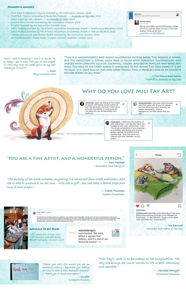 A small selection of Testimonials regarding Mili Fay's work created for her 2019 Illustration Portfolio.