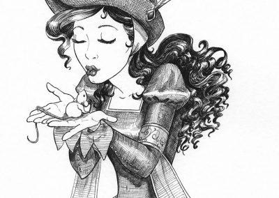 Nikolina and Sugarplum from Mili Fay's Warriors of Virtue | © 2016 Mili Fay Art | Dip pen, ink on paper.
