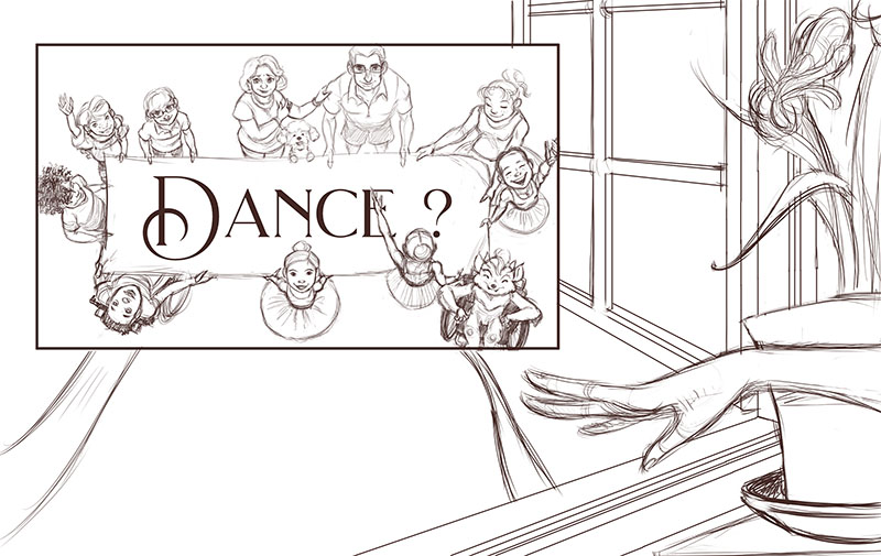 Ellen's family and friends inviting her to dance. She says yes with a gesture. | Sketch