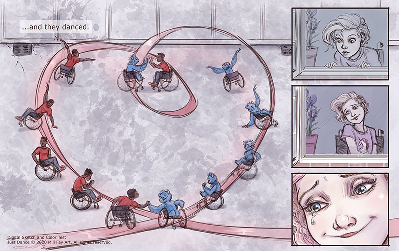 Chupko and Cookie perform a wheelchair dance as hope returns to Ellen's heart. | Final Sketch and Color Test