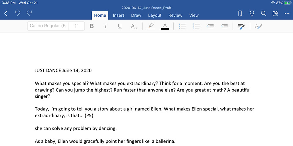 Draft of Just Dance dated July 14, 2020.