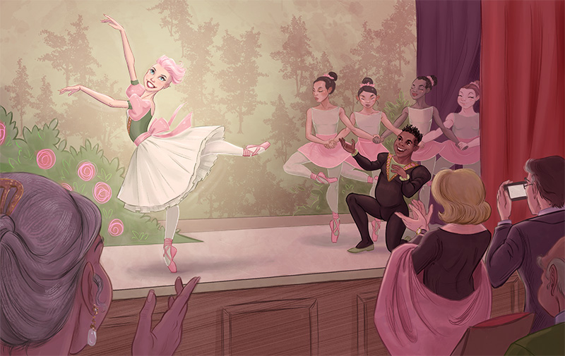 Just Dance: Concept Art | Ellen dancing at the school recital with Cookie.