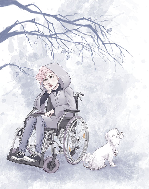 Just Dance: Concept Art | Ellen in a wheelchair. Sad.