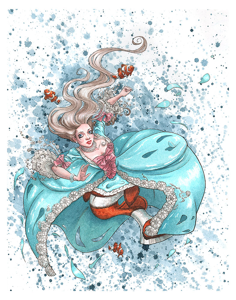 """Marie Antoinette Clown-Fish Mermaid"" — MerMay 2020   © 2020 Mili Fay Art   11"" x 14"" watercolor and ink."