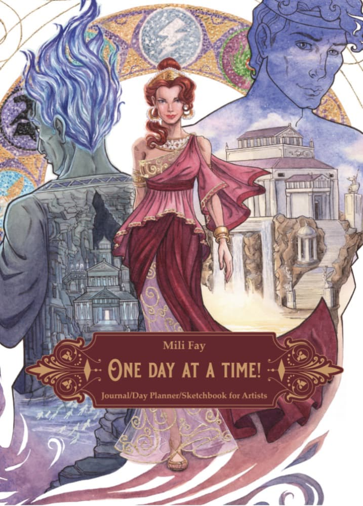 Mili Fay's One Day At A Time! Journal/Day Planner/Sketchbook for Artists featuring Every Girl Is A Princess: Megara Cover Art | © 2020 Mili Fay Art.