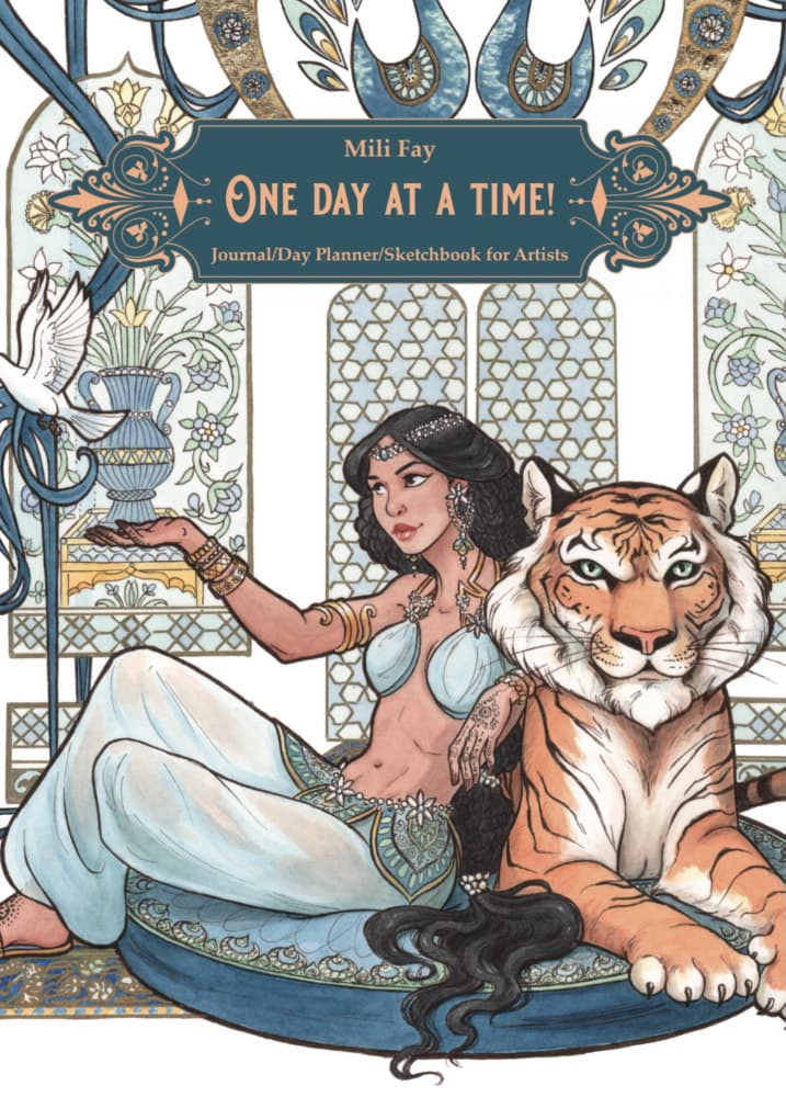 Mili Fay's One Day At A Time! Journal/Day Planner/Sketchbook for Artists featuring Every Girl Is A Princess: Aladdin Cover Art | © 2020 Mili Fay Art.