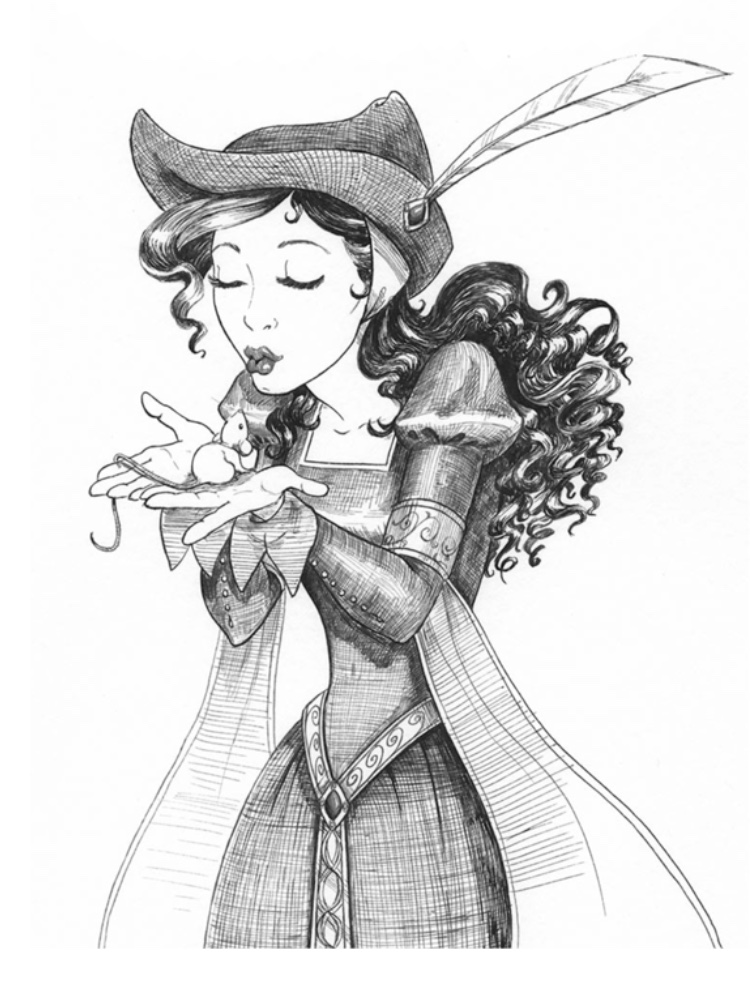 Nikolina coddling her pet Sugarplum ink illustration from Mili Fay's Warriors of virtue.