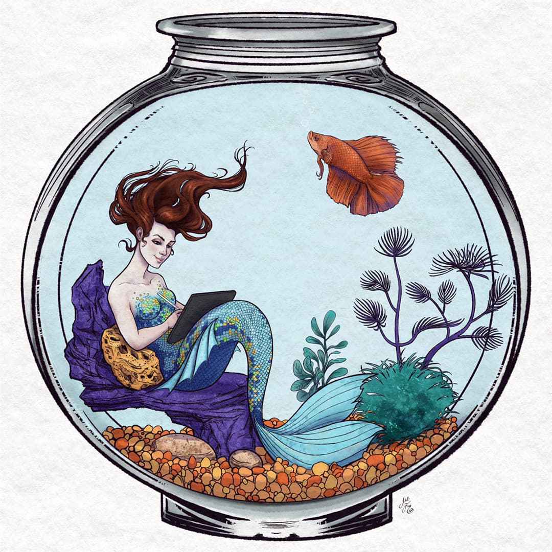 Mili Fay as the Aqua Mermaid for MerMay 2021, trapped in a fish bowl representing her state during the pandemic.