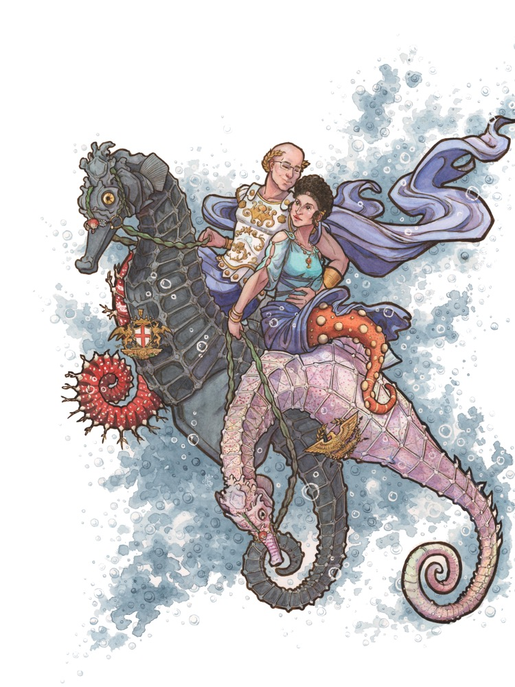 Creative portrait of a seahorse mer-couple out for a ride in the ocean.