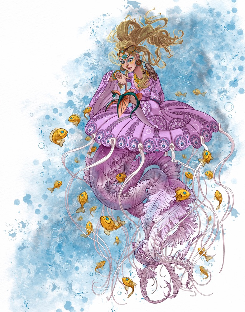 Mili Fay's Jellyfish, Hippie, Inquisitive Mermaid created for MerMay2021.