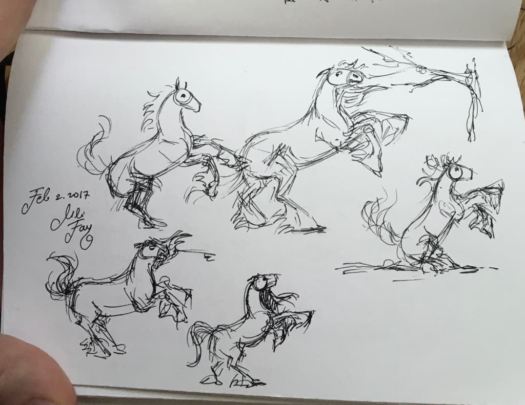 Mili Fay's several sketches of the horse showing personality.
