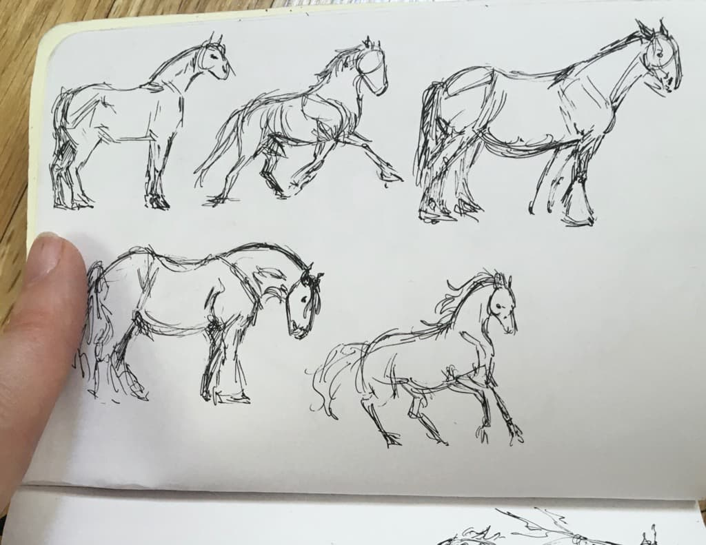 Horse studies. Ink on paper.