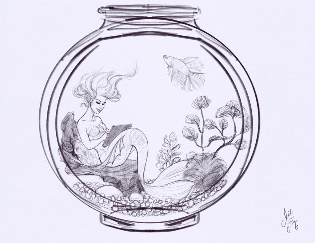 Sketch of Mili as the Aqua Mermaid for MerMay 2021, showing her trapped in a fish bowl.