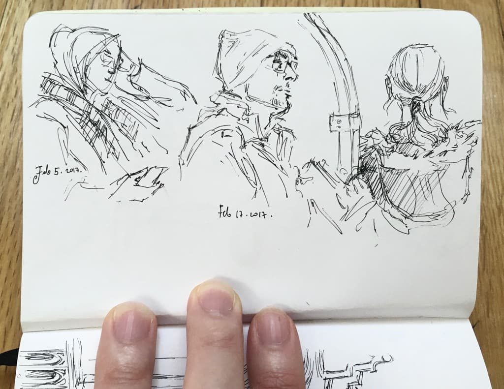 Mili Fay's Sketch: 3 people in the subway.