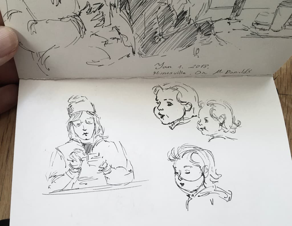 Mili Fay's Sketch: A woman and a child in McDonald's, Huntsville.
