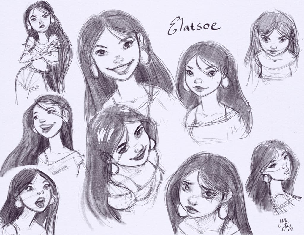 Mili Fay: exploring Elatsoe's emotions in this character design page.