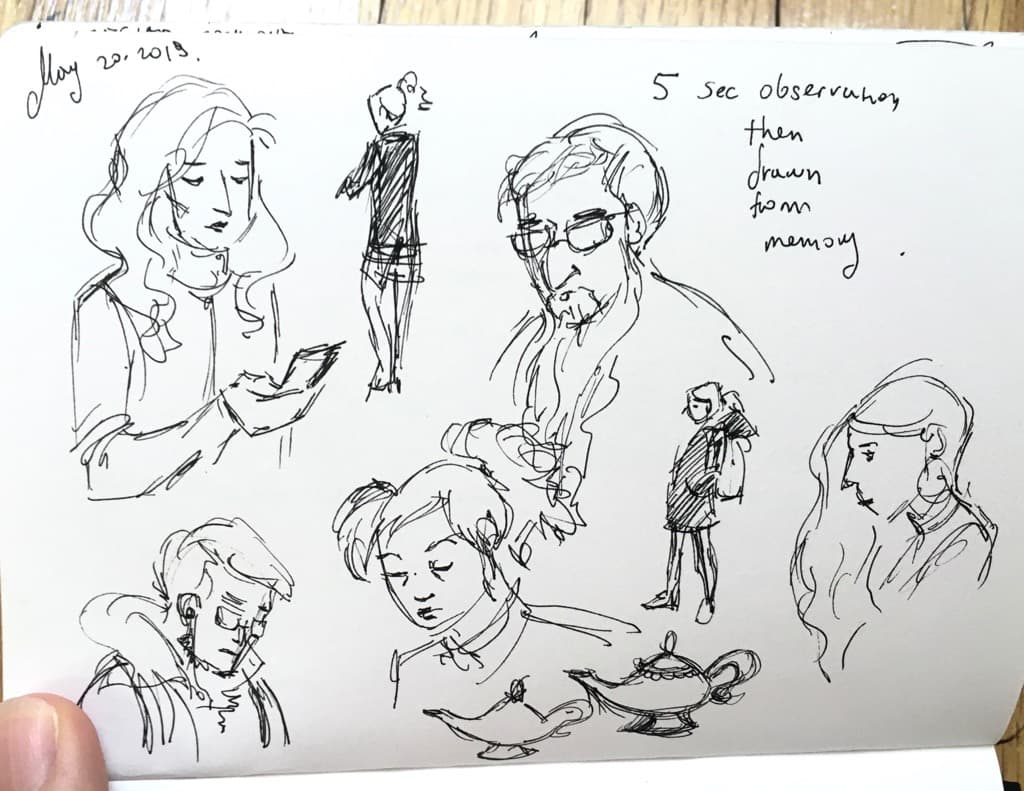 Mili Fay's quick sketches of people in the subway.