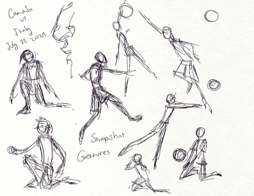 Mili Fay's quick gesture sketches drawn on iPad Pro 2020.