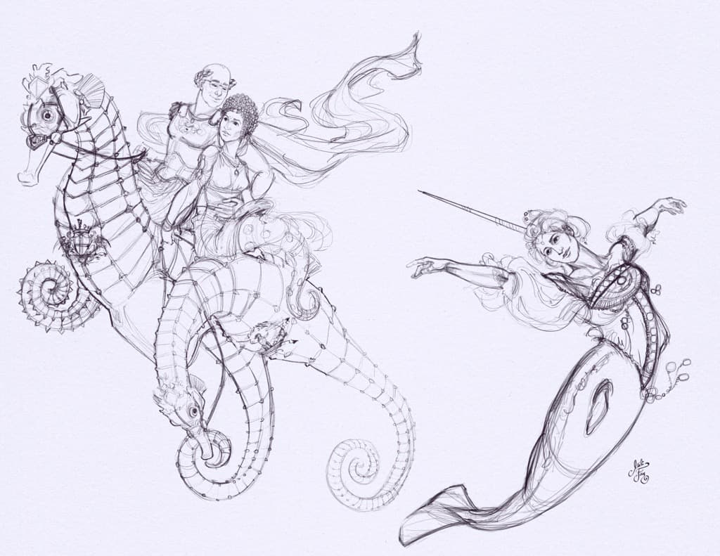 Mili Fay's sketch of the Narwhal and seahorse merpeople for MerMay2021.