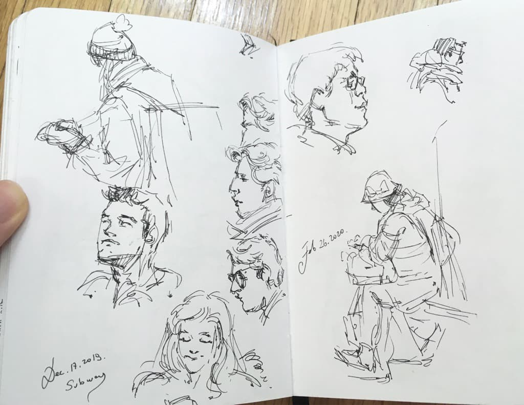 Mili Fay's sketches of people on the subway.