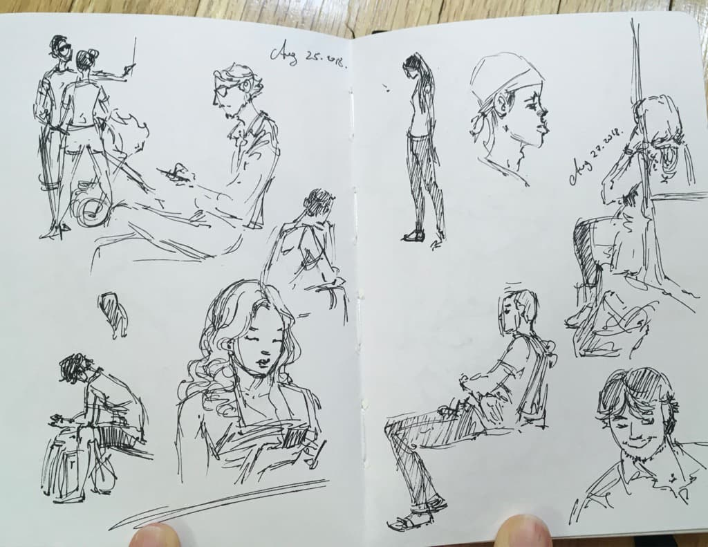 Mili Fay's bservational sketches in the subway.