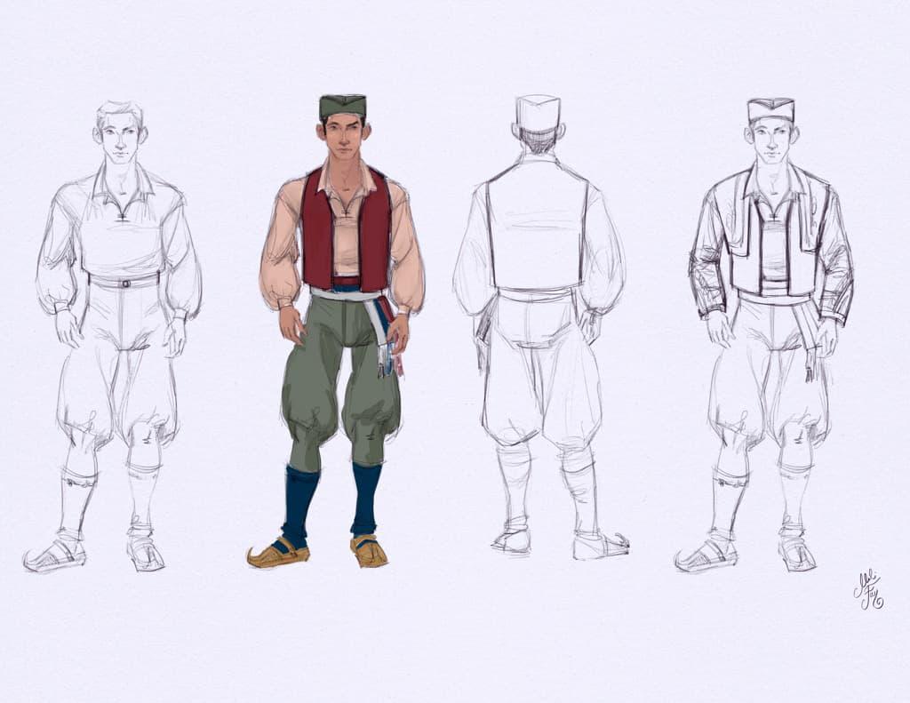 Mili Fay's Aleksandar character design rotation.