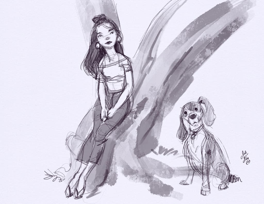 Mili Fay exploring the relationship between Elatsoe and Kirby in this sketch.