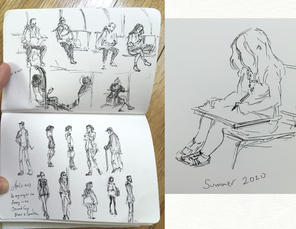 Sketches of people in the subway and one of a little girl drawing. Ink on paper.